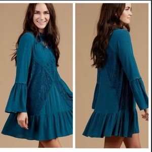 Altar'd State boho leave teal Janella dress